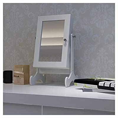 K&A Company Face Mirror, White Tabletop Wooden Jewelry Cabinet with Mirror