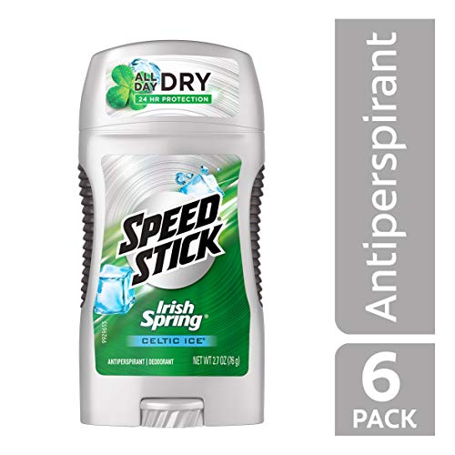Speed Stick Antiperspirant Deodorant for Men, Irish Spring Celtic Ice - 2.7 ounce (6 Pack)