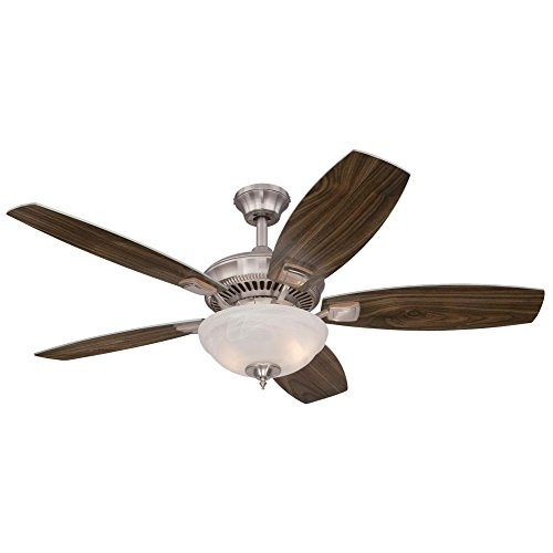 Westinghouse 7209400 Traditional Tulsa LED 52 inch Brushed Nickel Indoor Ceiling Fan, LED Light Kit with White Alabaster Glass