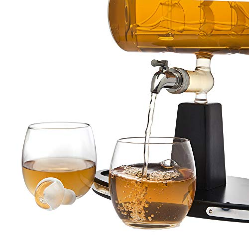 Godinger Whiskey Decanter Dispenser with 2 Whisky Tumbler Glasses - for Liquor, Scotch, Bourbon, Vodka by Godinger (Image #2)
