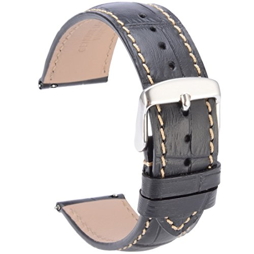 WOCCI 20mm Quick Release Watch Band,Semi-Matt Alligator Embossed Leather Strap in Black Contrasting Seam