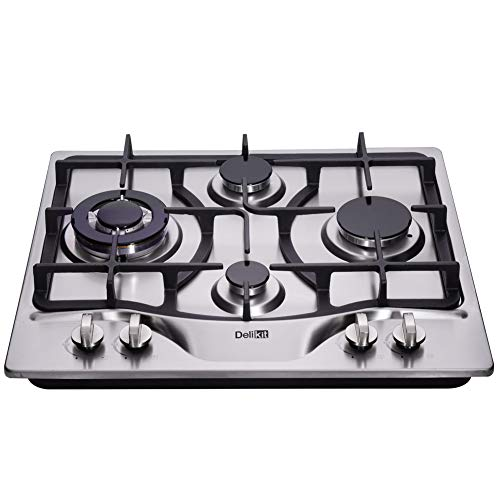 DeliKit DK245-B03 24 inch LPG/NG gas cooktop gas hob stovetop 4 Burners Dual Fuel 4 Sealed Burners brass burner Stainless Steel gas cooktop 4 burners Built-In gas hob 110V AC pulse ignition gas stove
