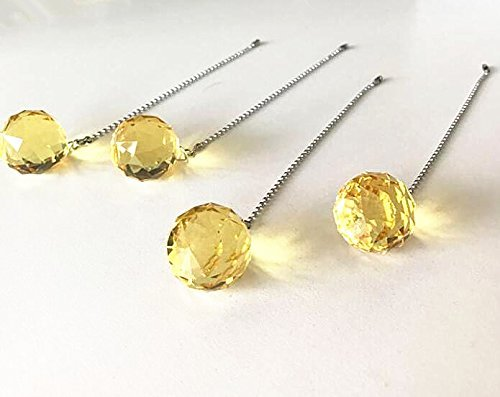 Usany Beauty Crystal Yellow Crystal Ball Prism 4 Pieces Dazzling Crystal Ceiling FAN Pull Chains