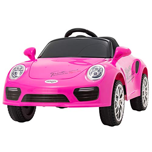 Uenjoy Kids Electric Ride on Cars 6v Battery Power Motorized Vehicles, Remote Control, Suspension, Music, Headlights, Horn, Pink (Best Remote Control Vehicle For 5 Year Old)