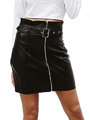 BerryGo Women's High Waist PU Leather Party Pencil Mini Skirt with Belt