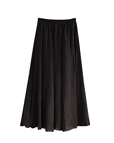 Femme Rtro Pliss Jupe Maxi Longue De Plage Bohme Elgante Classique Long Skirt Taille Elastique En Coton Lin Grande Taille Noir