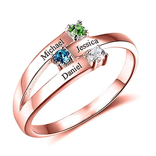 (Personalized 3 Simulated Birthstone Promise Rings for Her Engraved Name Rings for Womens(Rose-Gold-Plated-Base,8.5))
