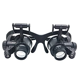 Head Wearing Magnifying Lens,GenLed Glasses New Loupe 10X 15X 20X 25X LED Double Eye Jeweler Watch Repair Magnifying Glasses Loupe Magnifier