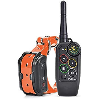 PetSpy Premium Dog Training Shock Collar for Dogs with Vibration, Shock and Beep, Rechargeable and Waterproof E-Collar - Best Remote Trainer