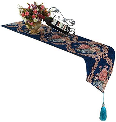 Design Style European - EveryWell 13x83 Inch Antique European Style Flower Design Linen Table Runner, Long Table Cloth, Dresser Scarf (Blue)