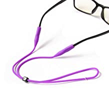 2PCS Safety Adjustable Silicone Eyeglass Cord Eyeglass Chains Reading Sunglass Neck Strap Rope Eyewear Retainer Holder for Adult and Kid Color Random
