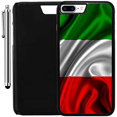 Custom Case Compatible with iPhone 7 Plus (5.5 inch) (Red White Green Italian Italy Flag) Plastic Black Cover Ultra Slim | Lightweight | Includes Stylus Pen by Innosub