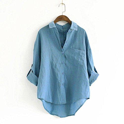 V Tops Sixcup Tops Manches Tunique Shirt Haut Longue Bleu Femme Chemise T Haut Lace Blouse Casual Cou ZqzxOrfZ