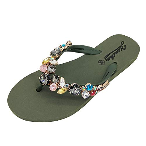 Gobling Women's Summer Rhinestone Man-Made Gems Shoes Bohemia Non-Slip Flat Beach Slippers Clip Toe Home Comfortable Sandals (Color : Green, Size : 7 M ()