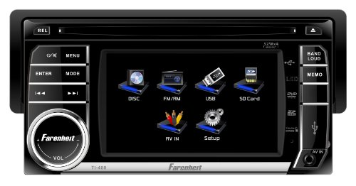 Farenheit TI-450 1-DIN Multimedia Source Unit with Detachable Hang Down 4.5-Inch LCD Touch Screen