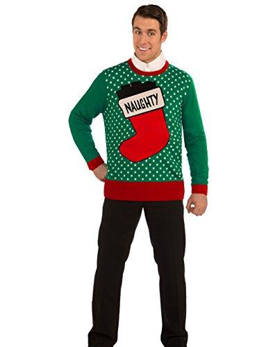 Forum Novelties Naughty Stocking Novelty Christmas Sweater, Multi, - Shops Stores Forum