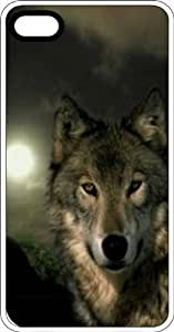 Wolf In Moonlnight White Plastic Case for Apple iPhone 4 or iPhone 4s