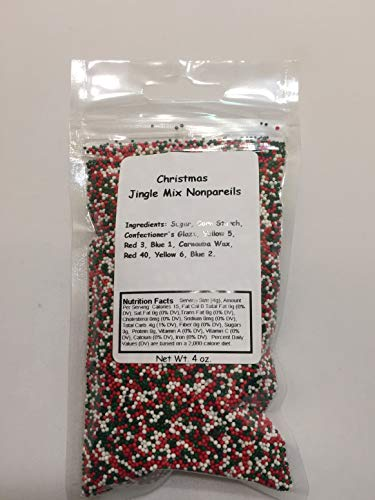 Christmas Jingle Mix Candy Nonpareils Sprinkles (Red, White and Green) (4 oz)
