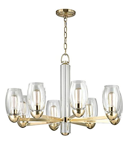 Aged Brass Pamelia 8 Light Chandelier with Mouth-Blown Glass Shades and Tungsten Filament Bulbs - Glass Chandelier Eight Light Blown