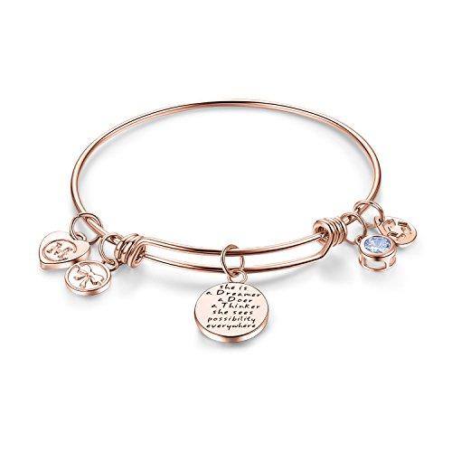 Expandable Charm Bracelets Engraved