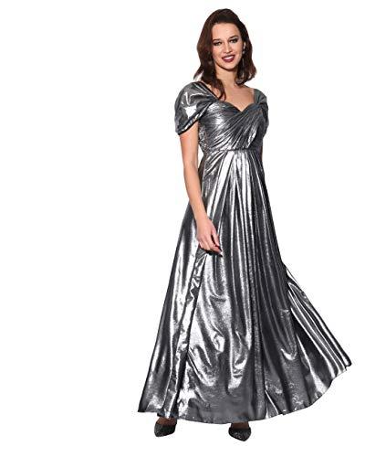 Femme Soirée Argent 4222 Longue Pissée Robe Krisp Chic pwZdpq