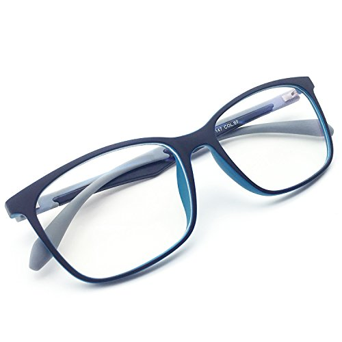 8bac9cb428 ANRRI Blue Light Blocking Computer Glasses for Anti Eyestrain Anti Glare  Transparent Lens Lightweight Frame Eyeglasses