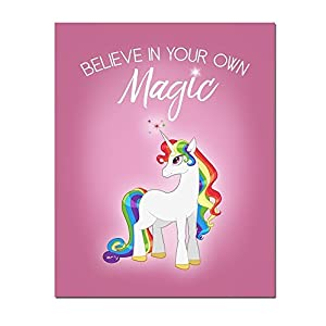 Inspirational Rainbow Haired Unicorn with Pink Background 8×10 Art Print