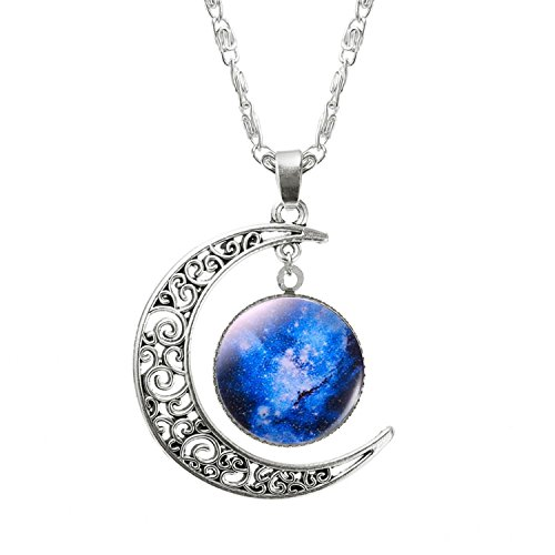 Baqijian 1 Pcs Hollow Moon Glass Galaxy Statement Necklaces Silver Chain Pendants Jewelry Collares Friend Gifts Style6