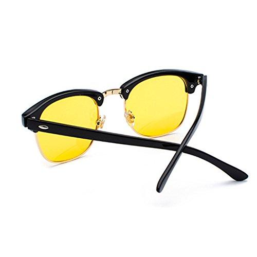Medio Amarillo marco Gafas sol Y lentes Huicai Mujeres UV400 hombres y retro polarizados de Negro xwa6w1Y0Eq