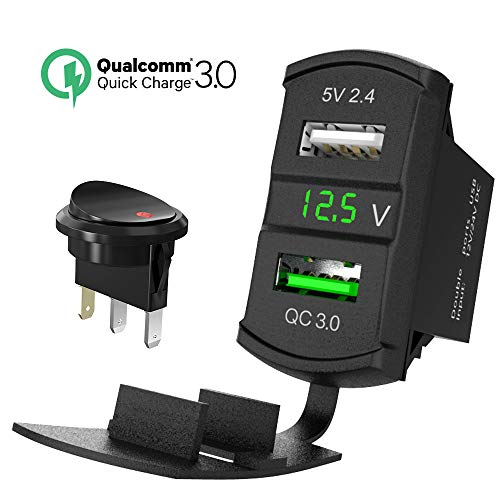 QC 3.0 Rocker USB Charger Socket 12V/24V Dual USB Car Power Outlet Green LED Voltmeter Waterproof Marine Cigarette Lighter Adapter Quick Charge 3.0 Rocker Switch Panel on Boat UTV ATV RV