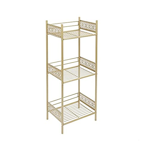 Silverwood Filigree Bathroom Collection Floor Shelf, Gold (White And Gold Shelves)