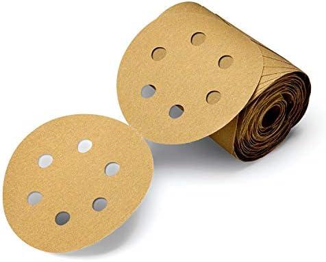 C-weight TM Aluminum Oxide Gold Attachment P100 Grit TM 3M Stikit Pressure-Sensitive Adhesive 5 Diameter PSA Paper Disc Roll 236U 5 Diameter Pack of 1