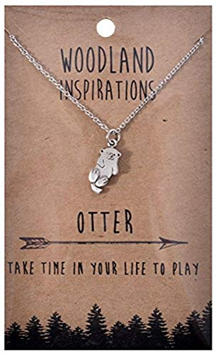 Shag Wear Woodland Nature Inspirations Quote Necklace (Otter Pendant) (Gold Choker Pewter Charm Necklace)