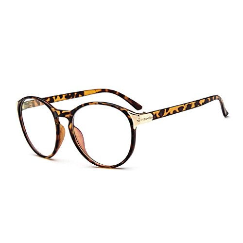 Yumian Retro Vintage Nerd Large Frame Fashion Round Clear Lens Glasses (Leopard - Glasses Nerd Print Leopard