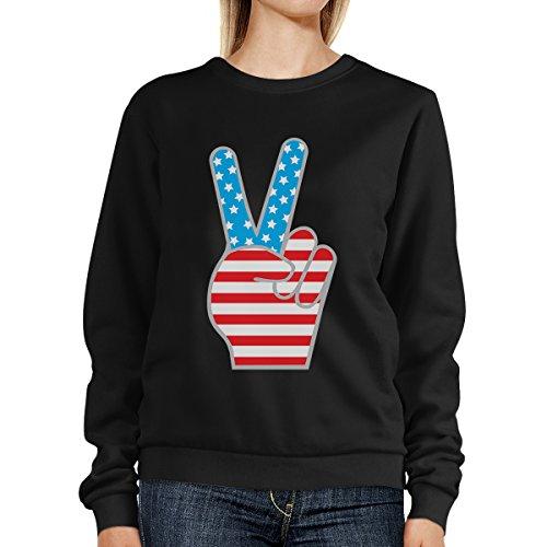 365 Printing - Sudadera - Manga Larga - para mujer American Flag Peace Black SweatShirt