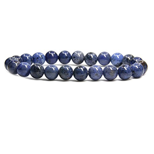 (Amandastone A Grade Dumortierite Gem Semi Precious Gemstone 8mm Ball Beads Stretch Bracelet 7