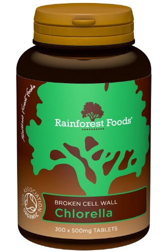 Rainforest Foods Organic Broken Cell Wall Chlorella Tablets 500mg Pack of...