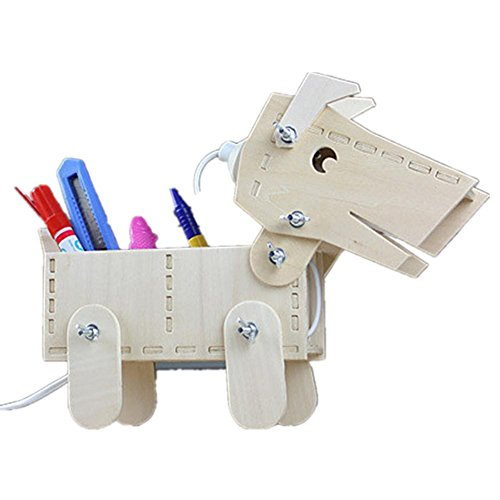 DMMSS Wooden Puppy Personalized Sculpture Model Living Room Study Bedroom Bedroom Lamp / Storage Box Simple Modern Incandescent Night Light 28 26 11Cm by DMMSS Lamp