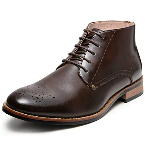 Men's Oxford Dress Leather Lined Cap Toe Angle Boots(7.5 M US,Brown-6)