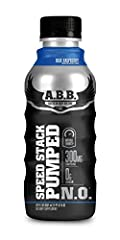 ABB performance speed stack pumped n.o. 12 pack. Explosive energy with 300mg of caffeine. Pump promotion, arginine and glycerol. Sugar free with just 30 calories.