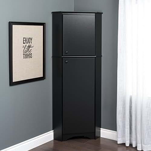 Prepac BSCC-0605-1 Corner Storage Cabinet Elite Tall 2-Door, Black