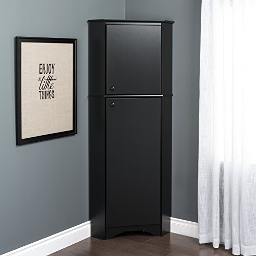 Prepac BSCC-0605-1 Corner Storage Cabinet, Elite Tall 2-Door, Black