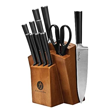 Chikara Forged Japanese Stainless Steel Cutlery 12 Piece Toffee Stained Wood Block Set, 07132DS