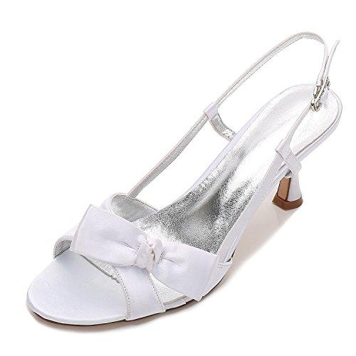 De Dama Cintas L 19 Zapatos E17061 Peep White Tacones yc La Satén Toe Novia Honor Boda Bajo Mujeres YYvPH