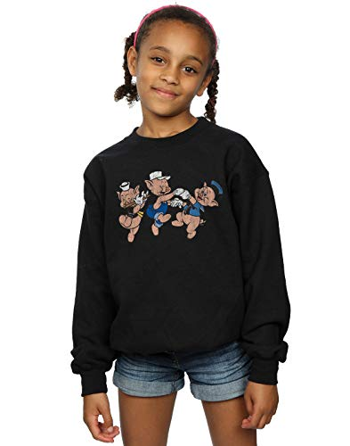 Disney Girls Three Little Pigs Having Fun Sweatshirt Black 5-6 Years