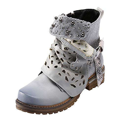 Side Zipper Cowgirl Boot Women Leather Buckle Hollow-Out Boots Pearl Oxford Boot ()