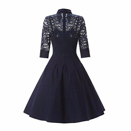 DoraMe Vestido ocasional del cóctel del Bodycon Dress de la boda del cuello O del cordón de las mujeres Armada4