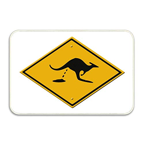Road Kangaroo Sign (NEWPAI Soft Collection Indoor/Outdoor Design Doormat,16X24 Kangaroo's shitting Road Sign)
