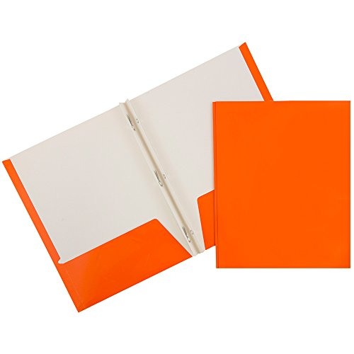 JAM Glossy Two Pocket Folders with Fastener - Orange - 50...
