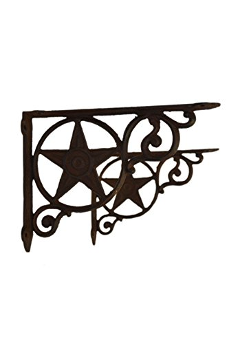 Western Star Shelf Brackets - Set 2 Dark Brown Texas Cowboy Lone Star Heavy Cast Iron Wall Shelf Brackets